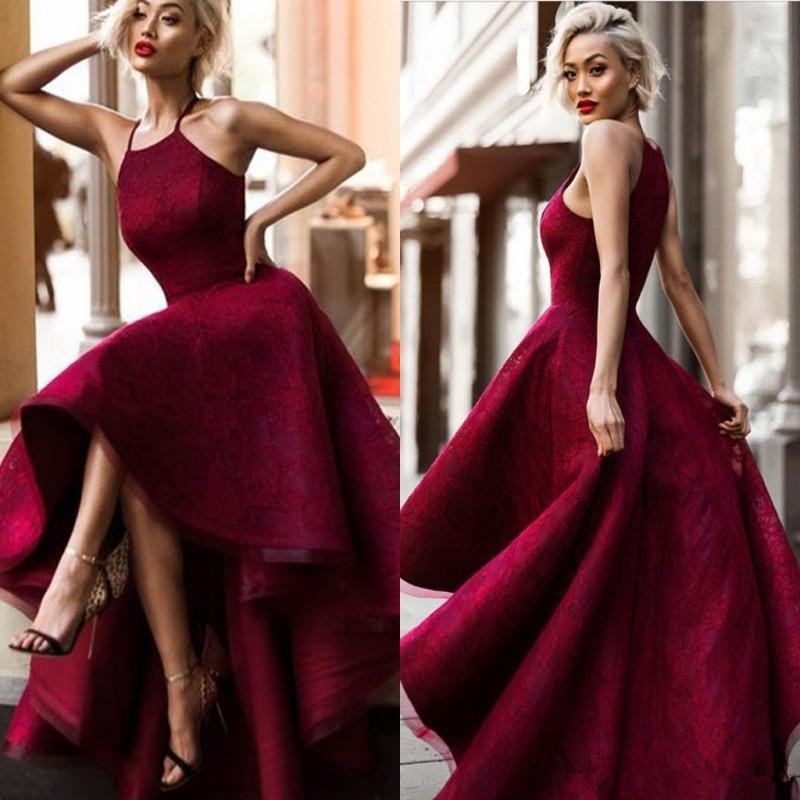 Burgundy 2019 Prom Dresses Ball Gown Halter Lace Hi Low Plus Size Party Maxys Long Prom Gown Evening Dresses Robe De Soiree
