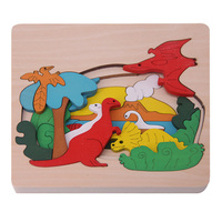 Children Multilayer Wooden Toys Educational 3D Cartoon Animal One Piece Three Layers Puzzle Game For Kids