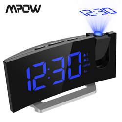MPOW LED FM Projection Clock 2 Alarms Multifunctional Curved Screen 5 Levels Display Brightness 4 Adjustable Alarm Sounds Wekker