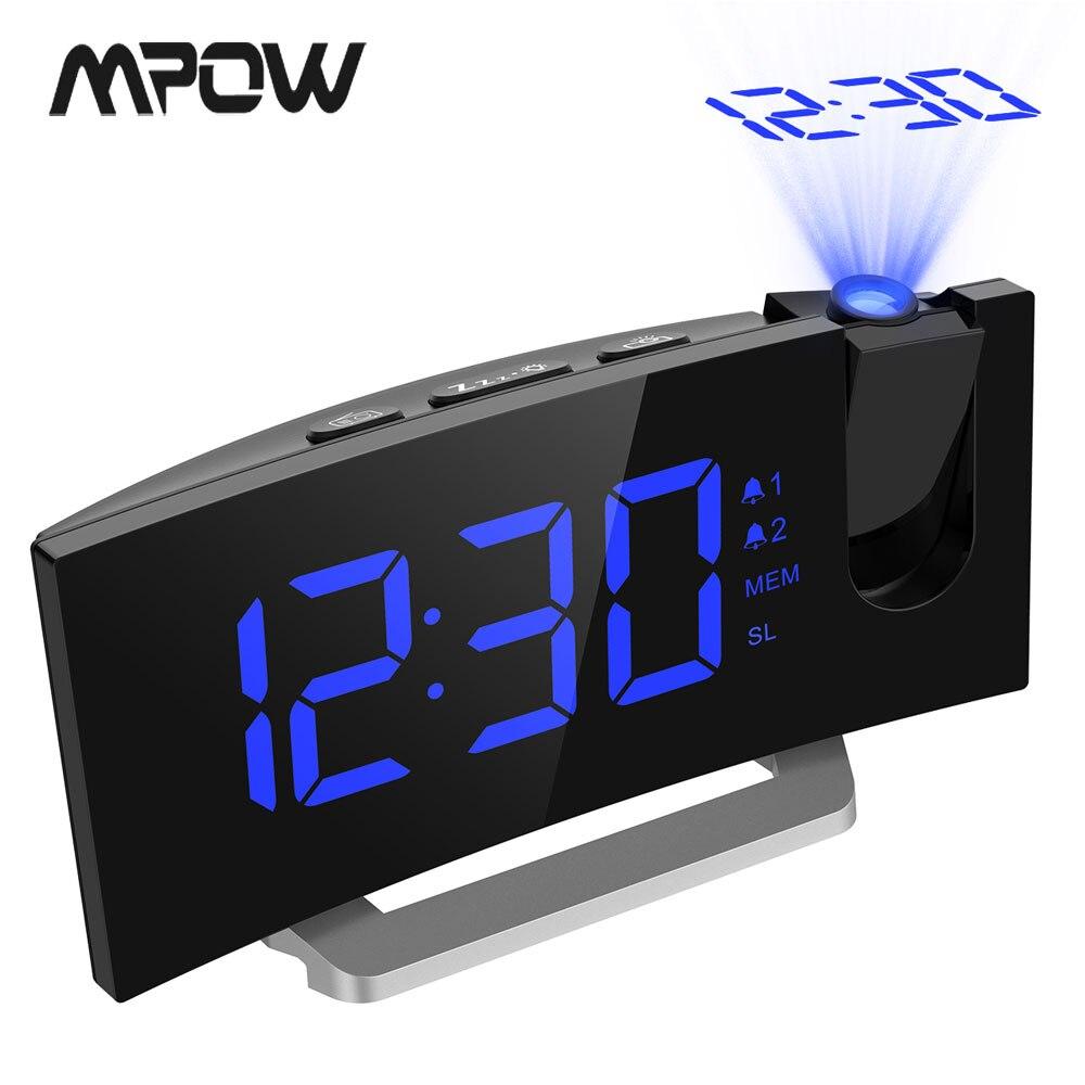 MPOW LED FM Projektion Uhr 2 Alarme Multifunktionale Gebogene Bildschirm 5 Ebenen Display Helligkeit 4 Einstellbare Alarm Ertönt Wekker