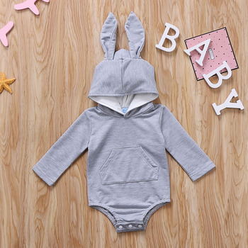 Infant Toddler Baby Girl Boys Hooded Sweatshirts Rabbit Ear Romper Cotton Bodysuit Hoodies 3