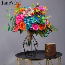Ramo de flores de seda amarillo lirio Artificial flor Rosa novia ramo de novia