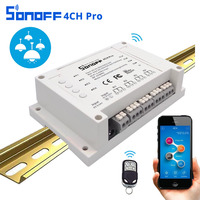 ITEAD Sonoff 4CH Pro 4 Gang 433MHZ Mounting Wireless Remote Control WIFI Smart Switch Home 10A