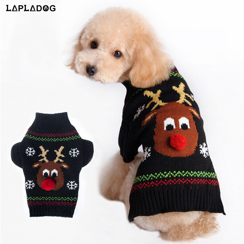 Holiday Christmas Reindeer Pet Clothes Knit Pet Cat Dog Costumes Small Dog Sweater Puppy Knitwear Poodle Pug French Bulldog Coat