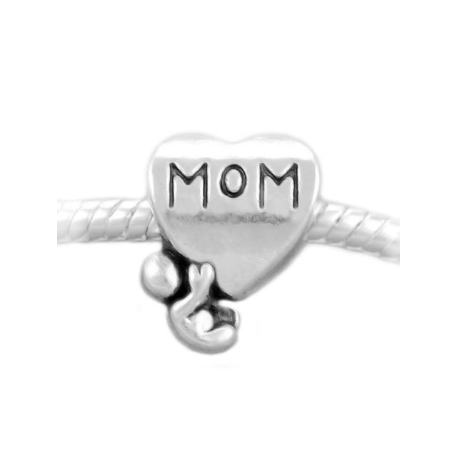 KING'S FAITH Silver Plated Fashion Family Tree Baby MOM Heart Charms Bead Fit Pandora Charm Bracelets DIY Jewelry Making SPB063