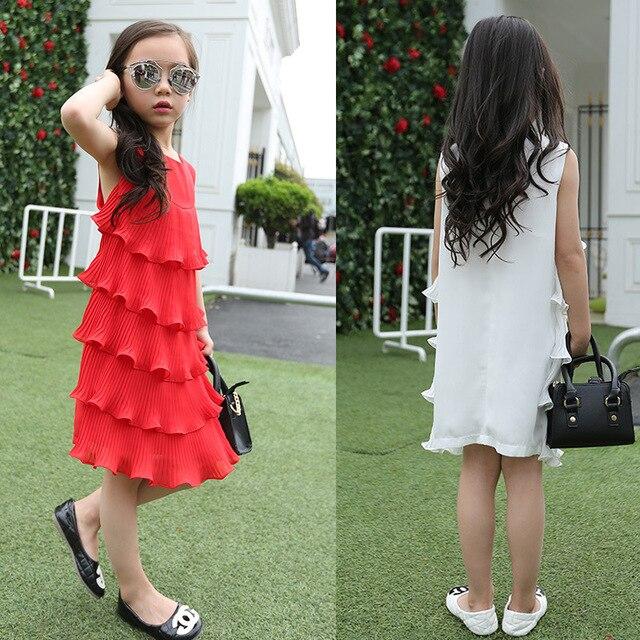 e6925969ee63 Kids Girls Summer Dress 2018 Girls Ruffles Layered Dress Summer Style  Chiffon Sundress Tank Dress Beach Dress White Red Vestidos