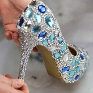 Image 3 - Zapatos de boda para mujer, altos zapatos de novia de cristal azul hechos a mano para vestido de fiesta, zapatos de tacón fino, zapatos de escenario para mujer