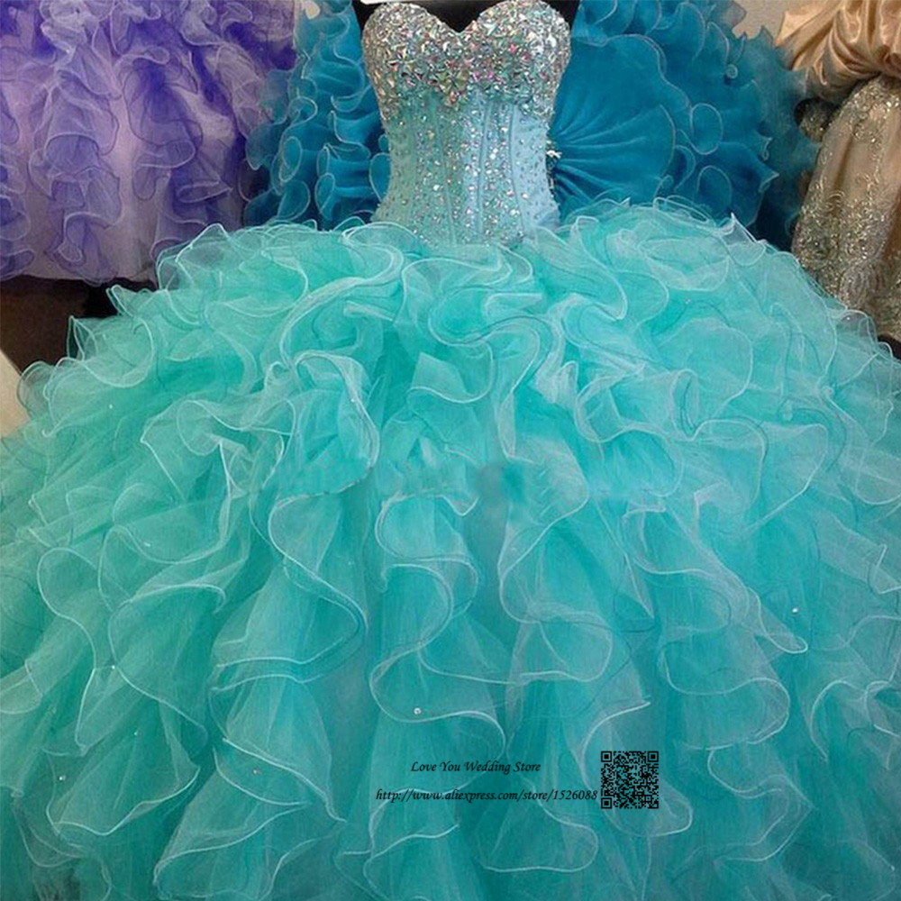 Turquoise Real Cheap Quinceanera Gowns Dress 2016 Crystal Ruffles Vestidos de 15 Anos Sweet 16 Dresses