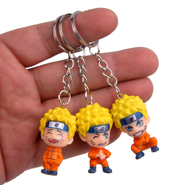 Anime Uzumaki Naruto action toy figure Kakashi Ninja Keychain Japan Konoha Ninja Village Enamel KeyRing men car key Bag Pendant