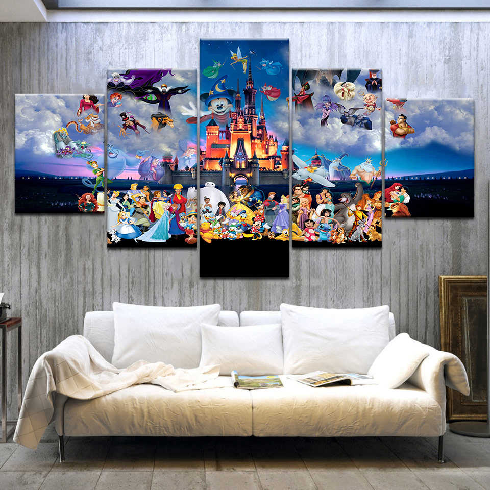 Modern Canvas Painting Wall Art for Home Decoration 5 Piece Mickey Mouse Castle Cartoon Poster Azure Sky Beautiful Picture