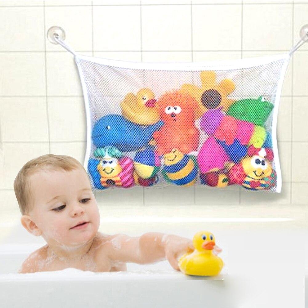 Folding font b Baby b font Bathroom Hanging Mesh Bath Toy Storage Bag Net Suction Cup