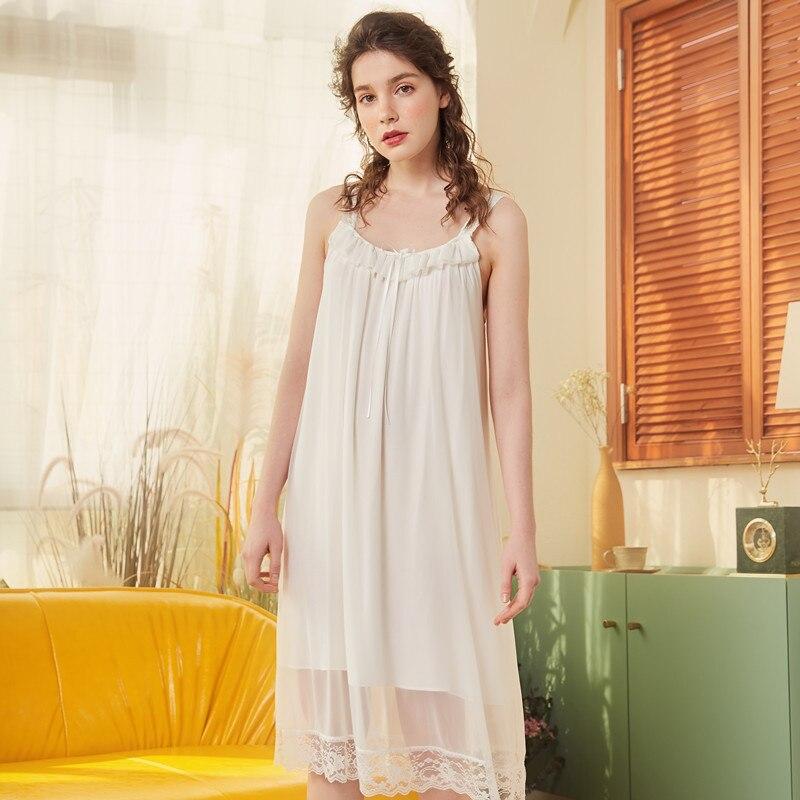 2019 Spring Summer Women Cotton Long Nightdress Female Lace Sleepwear Sweet Princess   Nightgown   Soft Elegant   Sleepshirts