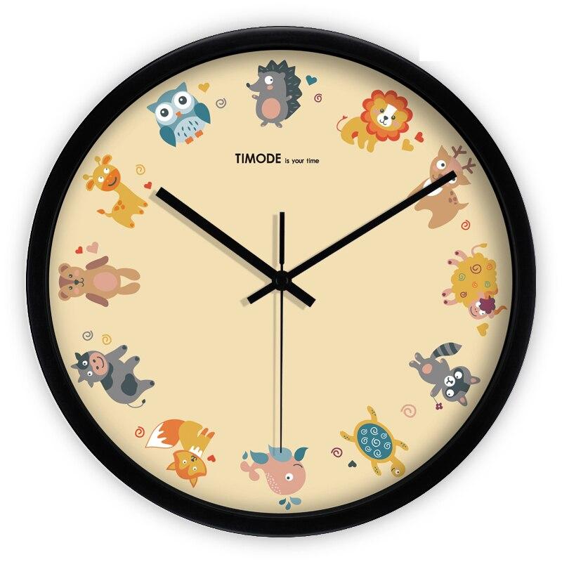 Big Plastic Children Wall Clock Bedroom Cartoon Reloj Pared Cocina Living  Room Electronic Black Wall Clock