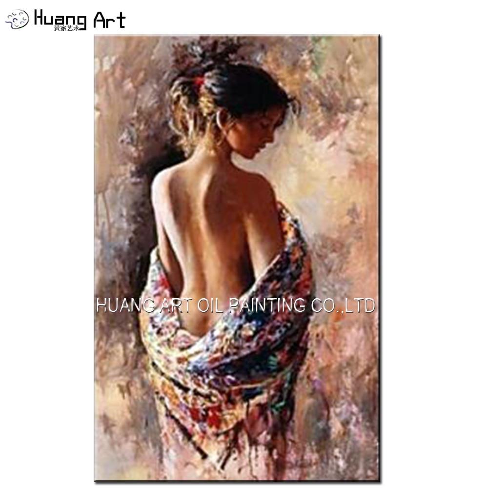 Habile peintre peint femme nue peinture à l'huile sur toile Sexy nue fille dos Impression Figure peinture pour décor de chambre