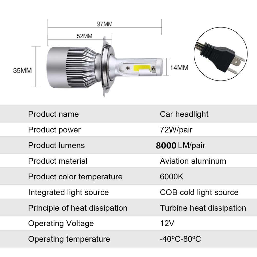 VooVoo سيارة العلوي H7 H4 LED H8/H11 HB3/9005 HB4/9006 H1 H3 9012 HIR2 72W 8000lm C6 LED السيارات لمبة كشافات 6000K ضوء ل سيارة