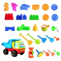 28pcs Beach Sand Playing Tool Set Soil car Waterwheel funnel Cartoon Animal & Castle Mold shovel Shower Kids Summer Outdoor Toys