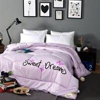 Gewaschen Weichen Bettdecke Vertikale Futter Tröster Einfarbig für Herbst Winter Einzigen Doppelbettdecke Twin Königin König Bettwäsche Rosa Weiß