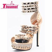 Новинка; модная обувь на высоком тонком каблуке; женские туфли-лодочки; женская обувь; модная женская обувь на очень высоком каблуке на платформе; цвет золотой;# Y0710168F