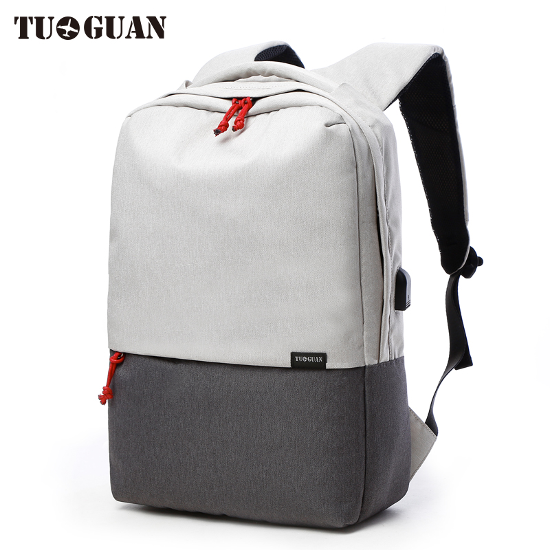 TUGUAN Canvas Men's Backpack Bag school External USB Charge Brand 14.5 Inch Laptop Notebook Mochila for Men Waterproof Back Pack ix e yh815