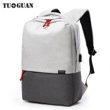 Tuguan leinwand männer rucksack tasche schule externe usb lade marke 14,5 zoll laptop notebook mochila für männer wasserdicht back pack