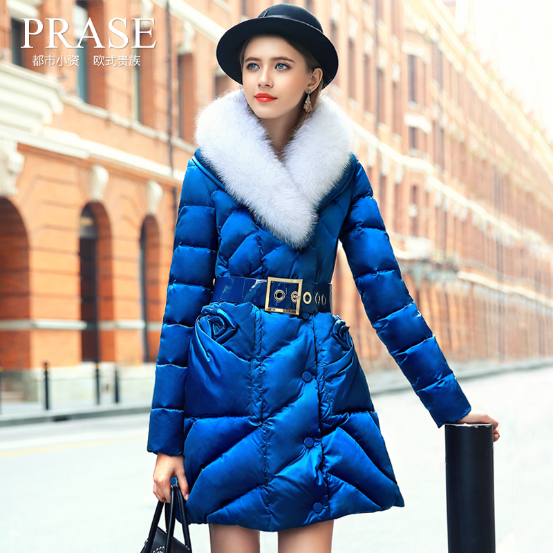 Freeshipping Hotsale Design Winter Warm Large Fox Fur Thickening Medium-long Female DownCoat Outerwear Slim Down Coat Candycolor new arrival 2015 hotsale design female medium long down coat thickening large fur collar women s brand outerwear high quality