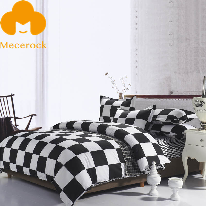 Mecerock Black White Plaid Bedding Set Factory Hot Sale