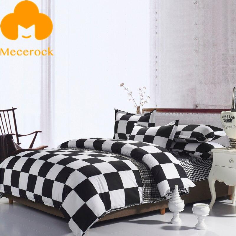 Mecerock black white plaid bedding set factory hot sale for Bedding sets sale