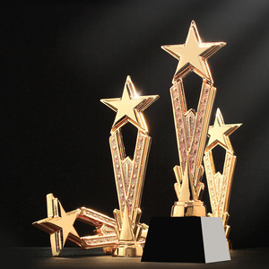 Image 2 - Free Custom Engraving  Shinning Black Crystal Base Golden Star Trophy Awards