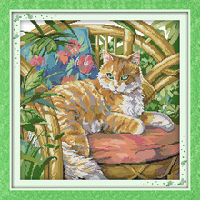 The cat on the chair Counted Cross Stitch DIY 11CT Printed 14CT Sets craft Cross-Stitch Kits Embroidery Needlework