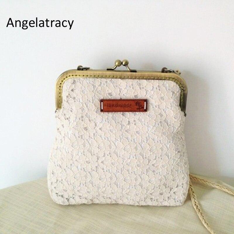 Angelatracy HANDMADE VINTAGE LACE BAG EMBROIDERY CREAM LACE PURSE LADIES HANDBAGS WHITE WOMEN BAG METAL FRAME HANDBAGS RETRO