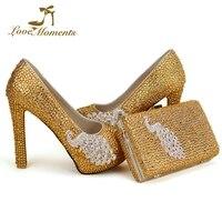 Золотыми стразами свадебные туфли толстый каблук женские выходные туфли лодочки для выпускного с подходящая Сумочка Великолепная Свадебн