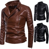 COBO 2019 spring new menswear Carrie leather fashion leather coat lapels
