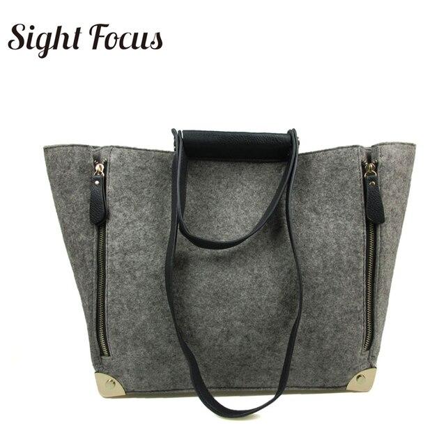 ff227a129b Sight Focus Large Felt Shoulder bags Handbag vilten tas grey tote bag large  minimalistic felt bag carry all vegan elegant bags