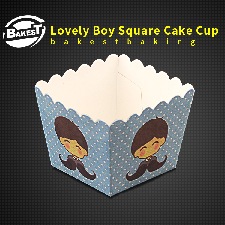 BAKEST 100pcs per lot Square Shape Boy Pattern Cake Baking Paper Cup