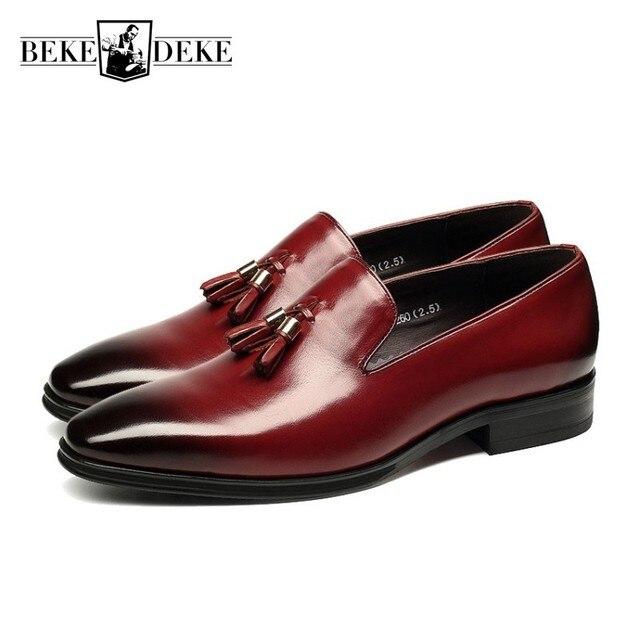 b927e2eb23494 أعلى العلامة التجارية شرابة حذاء رجالي اللباس الأسود الايطالية أزياء الزفاف  الذكور أحذية 2019 جديد جلد
