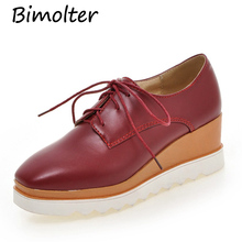 Bimolter 2019 NEW Fashion Women Pumps Round Toe Lace-Up Wedges Autumn Spring Comfortable Casual Classics Platform Shoes PCEB004