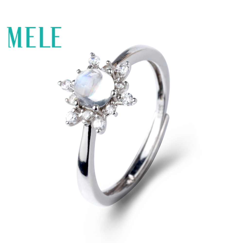 Natural blue moonstone 925 sterling silver rings for women,snow shape,new trendy fashion fine jewelry