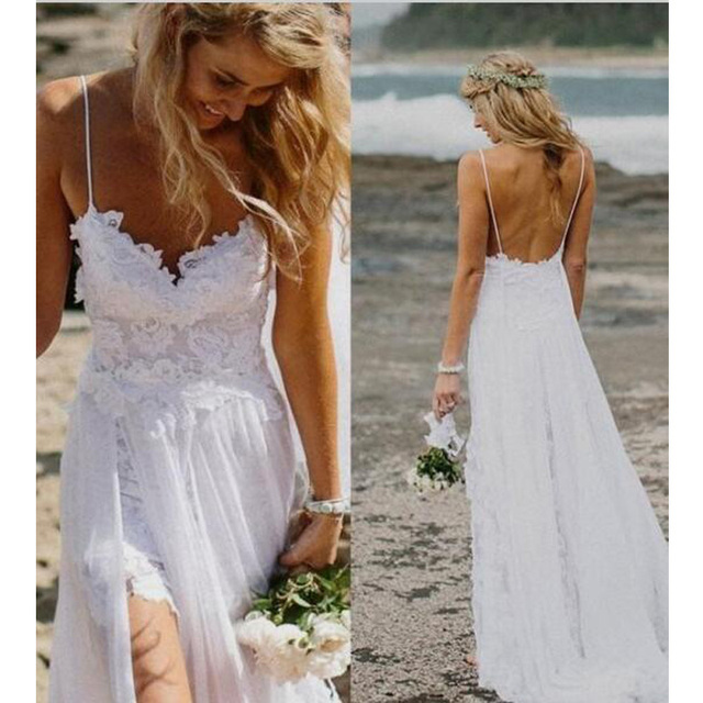 2017 Spaghetti Straps Beach Boho Wedding Dress Bohemian Lace Bodice High  Low Backless High Split Sweetheart Bridal Gowns Dresses 10c72287af25