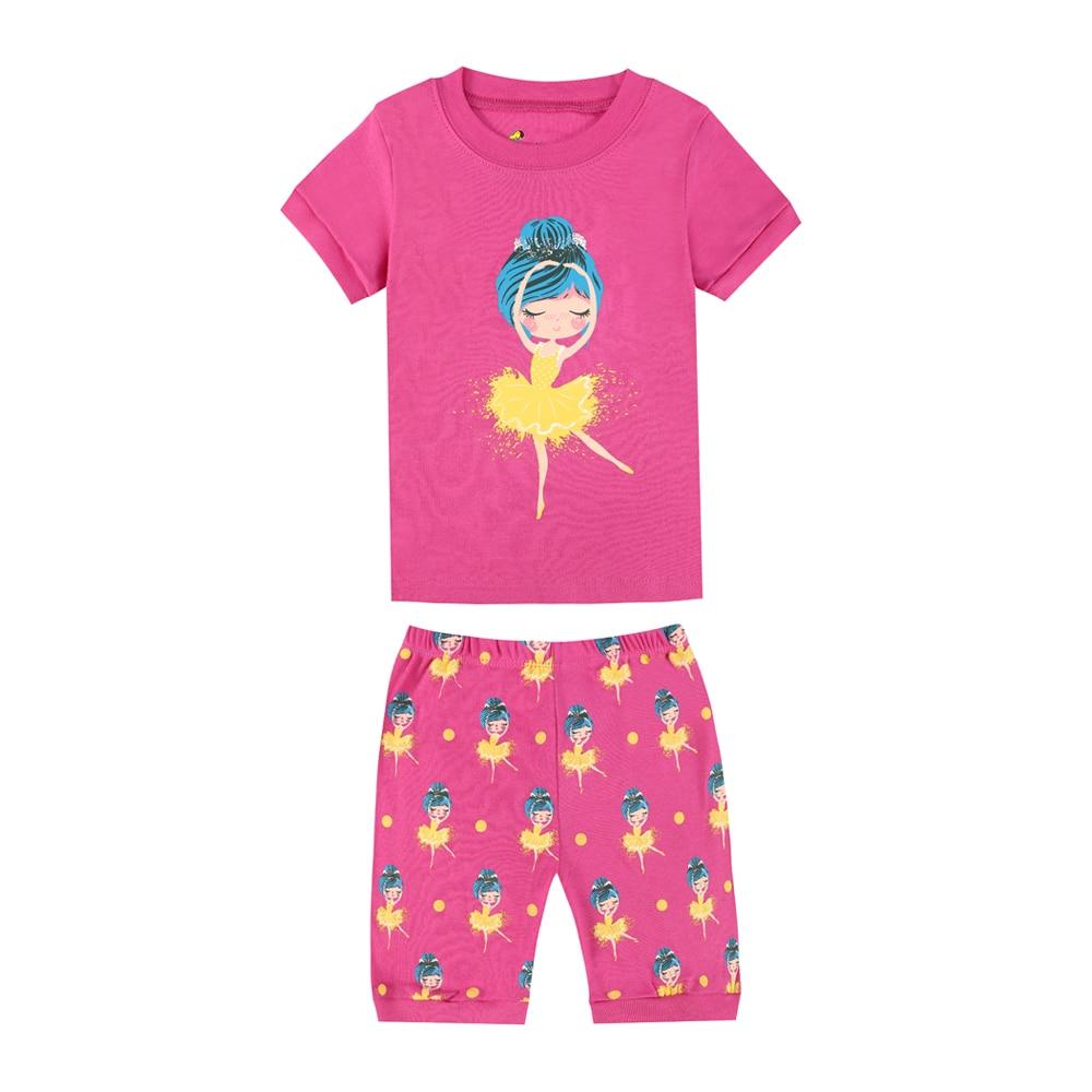 Ballet Dance Girls Pajamas Summer Short Sleeve Pyjamas ...