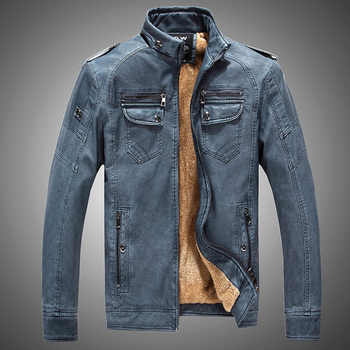 New Fleece Pu Leather Jacket Men Stand Collar Solid Pu Leather Punk Outerwear Motor Biker Overcoats Large Size Male Jackets - DISCOUNT ITEM  42% OFF Men\'s Clothing