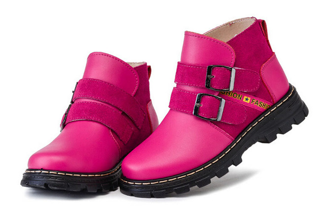 Big girls boots genuine leather suede winter footwear for children new fashion hot pink European style ankle boots with buckle