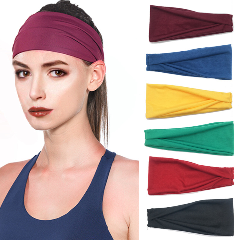 Women Solid Yoga Running Sweat Cotton Elastic Headband Wide Stretch Elastic Hair Band Fashion Women Headdress Hair Accessories