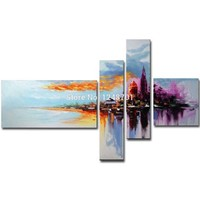 Hand Painted Modern Abstract 4 Pieces Colorful Abstract Oil Painting Canvas Art Wall Picture Living Room Bedroom Home Wall Decor