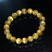 Natural Genuine Arrange Titanium Gold Hair Rutile Quartz Cat's Eye Stretch Bracelet Round Beads 10mm
