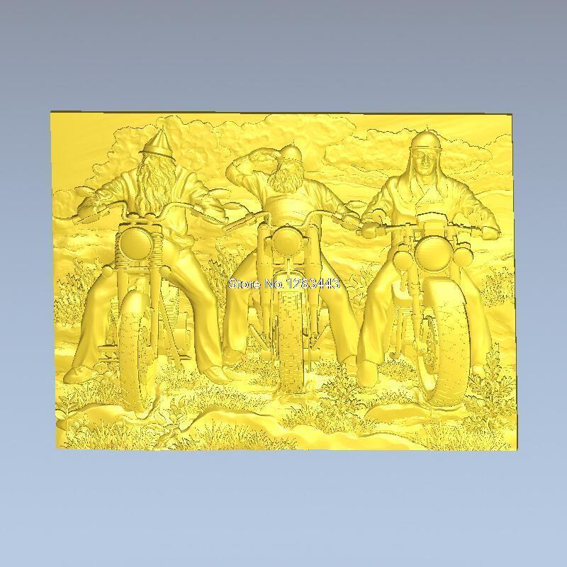 High Quality 3d Model Relief  For Cnc Or 3D Printers In STL File Format Bikers Unframed