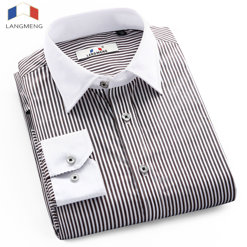 Langmeng 2017 Hot Selling 100 Cotton Mens Print Caual Shirt Men Striped Social Long sleeve Male Dress Shirts camisa masculina in Casual Shirts from Men 39 s Clothing