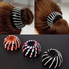 Korean Style Maker Bun Hairgrip Hairpins  Pearl Rhinestones Colorful Bud Hair Claw Accessories Clips For Women Girls