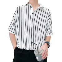 Men's Shirts 2018 Summer Fashion Casual Thin Loose Vertical Stripe Clothes Short Sleeves White/black Size M 2XL Free shipping