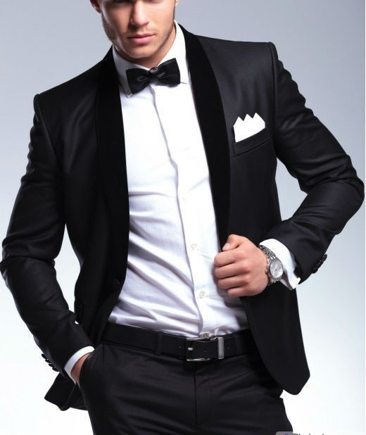 Elegant Groom's Wear Black Smoking Dinner jacket/Wedding Suits For Men/Best man's 3 Peices Suits(Jacket+Pants+Bowtie)