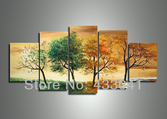 Modern Abstract 4 Season Tree Painting Wall Art Handmade 5